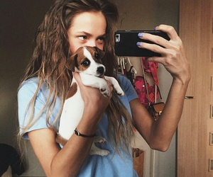 dog, girl, and iphone image
