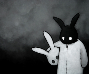 alone, black-white, and bunny image