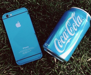 iphone, blue, and coca cola image