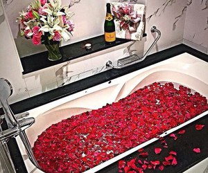 rose, bath, and champagne image