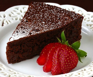 cake, chocolate, and strawberry image