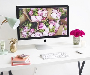 flowers, desk, and room image