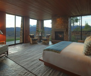 bed, fireplace, and home image