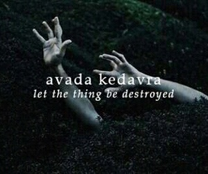 harry potter, avada kedavra, and spell image
