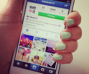 iphone, nails, and we heart it image