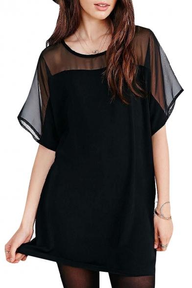seethrough sleeves and black short dress image