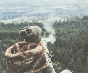 girl, smoke, and nature image