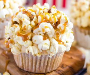 popcorn, cupcake, and caramel image