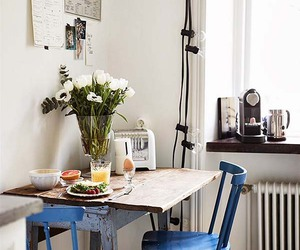 chair, breakfast, and flowers image