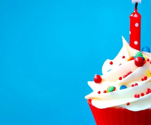 birthday, cupcake, and red image