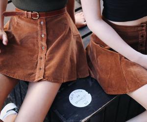 girl, skirt, and brown image