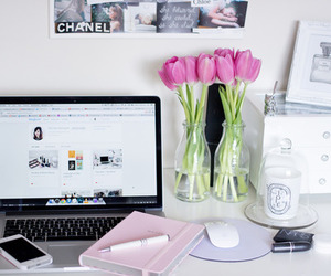 room, chanel, and flowers image