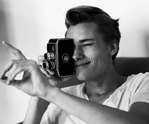 boy, black and white, and camera image