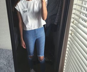 jean, white, and ootd image
