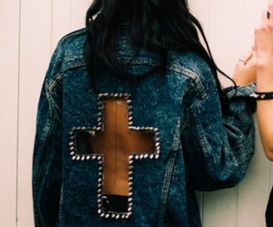 fashion, girl, and cross image