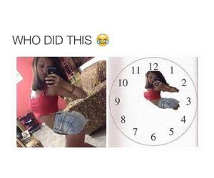clock, funny, and girl image
