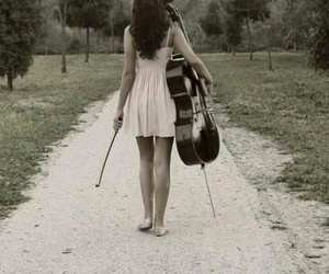 cello, dress, and forest image