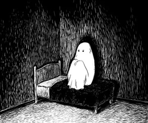 ghost, alone, and black and white image