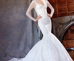 bridal gown, lace, and sleeves image