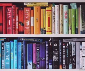 bookcase, books, and colors image