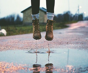 water, boots, and fall image