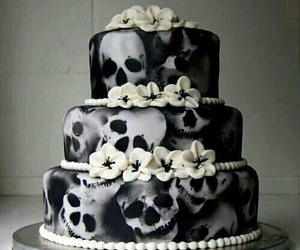cake, skull, and flowers image