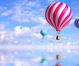 sky, wallpaper, and balloons image