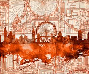 art print, home decor, and london eye image
