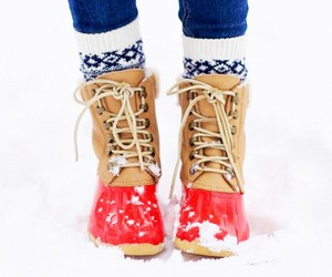 boots, winter, and snow image