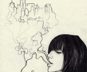 art, smoke, and city image