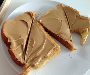 food, bread, and peanut butter image