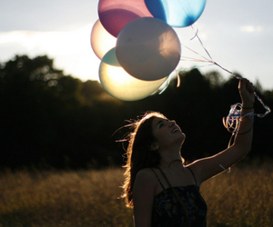 balloons, girl, and nature image