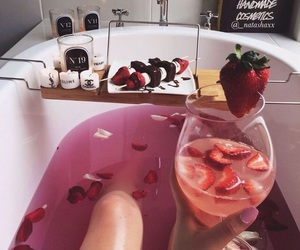 bath, strawberry, and pink image
