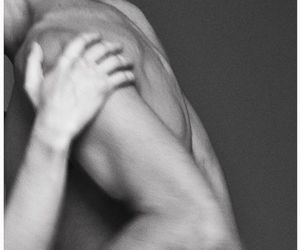 black and white, couple, and muscular image