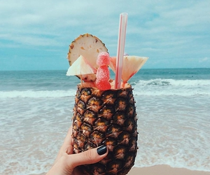 beach, black nails, and cocktail image
