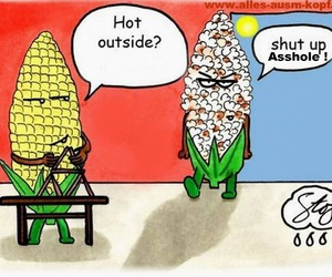 funny, corn, and popcorn image