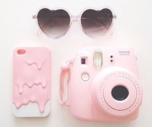 pink, camera, and sunglasses image