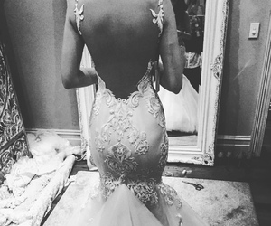 b&w, open back dress, and black and white image