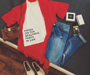 chic, red, and fashion image