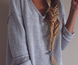 fashion, hair, and sweater image
