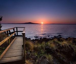 sunset, nature, and bridge image