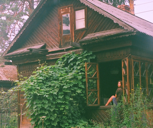 girl, window, and wooden house image