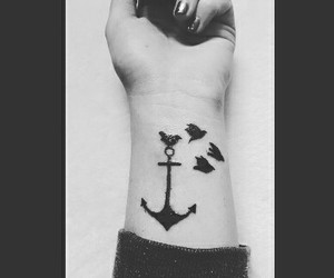 anchor, birds, and inked image