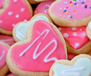 Cookies, heart, and pink image