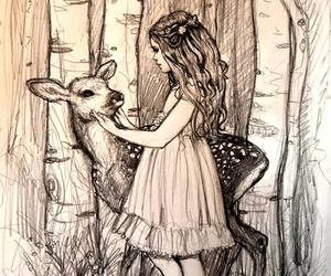 art, drawing, and fawn image