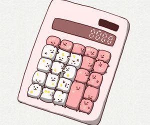 cute, kawaii, and calculator image