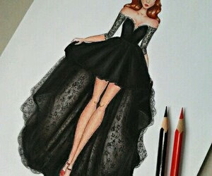 dress, black, and draw image