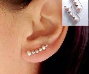 diy, earrings, and pearls image