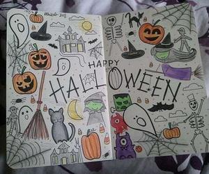 Halloween, drawing, and pumpkin image
