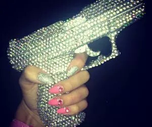 gun, nails, and pink image